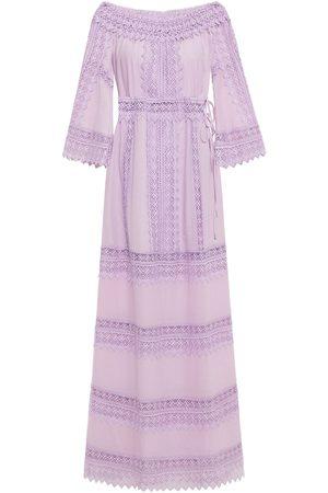 CHARO RUIZ IBIZA Woman Gamma Crocheted Lace-paneled Cotton-blend Voile Maxi Dress Lilac Size L