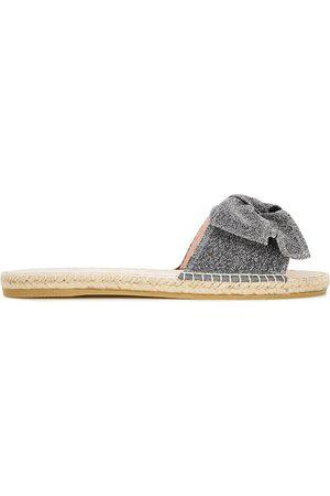 MANEBI Manebí Woman Hamptons Bow-embellished Lurex Slides Gunmetal Size 35