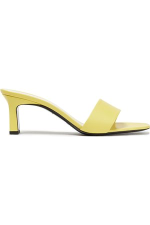 SIMON MILLER Women Sandals - Woman Leather Mules Chartreuse Size 35