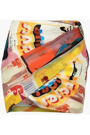 ZIMMERMANN Women Mini Skirts - Woman Ruched Printed Wrap-effect Silk-organza Mini Skirt Multicolor Size 0