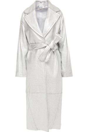 ZIMMERMANN Women Trench Coats - Woman Sabotage Barrel Metallic Textured-leather Trench Coat Size 0