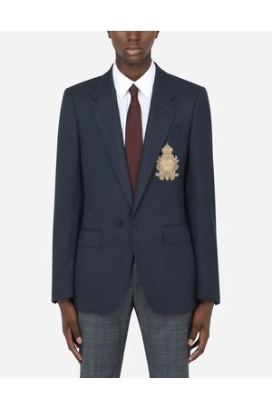 Dolce & Gabbana Collection - SILK AND WOOL PORTOFINO JACKET WITH PATCH EMBELLISHMENT male 48