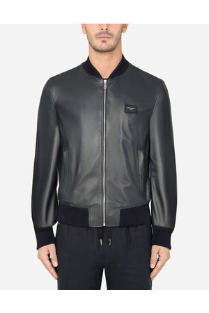 Dolce & Gabbana Men Bomber Jackets - Jackets and Bombers - LAMBSKIN JACKET WITH BRANDED PLATE male 44