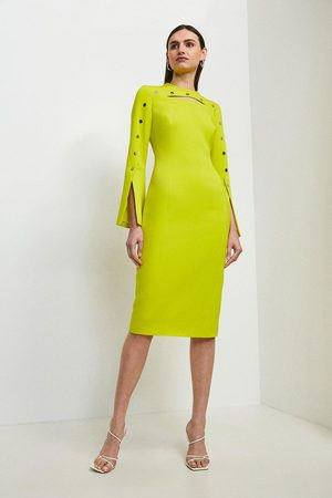Karen Millen UK & IE Karen Millen Stud Detail Split Sleeve Pencil Dress