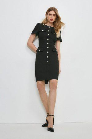 Karen Millen UK & IE Karen Millen Tailored Short Sleeve Utility Pencil Dress