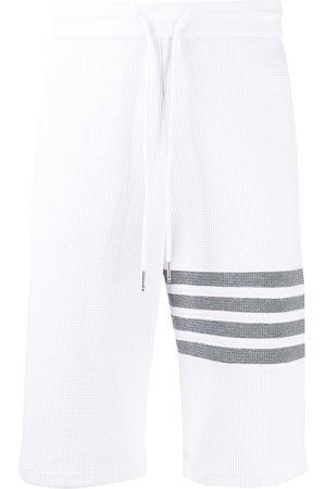 Thom Browne Men Shorts - 4-Bar waffle stitch track shorts