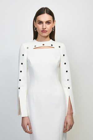 Karen Millen UK & IE Women Pencil Dresses - Karen Millen Stud Detail Split Sleeve Pencil Dress -, Ivory