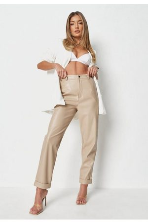 Missguided Faux Leather Turn Up Cigarette Trousers
