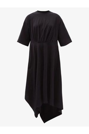 Balenciaga Women Casual Dresses - Asymmetric-hem Cotton-jersey T-shirt Dress - Womens
