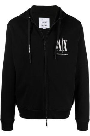 Armani Logo-embroidered drawstring hoodie