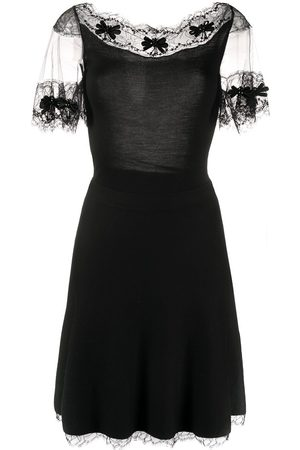 Dior 2000s pre-owned lace panels A-line dress