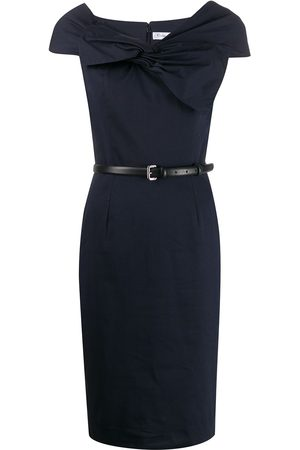 Dior 2000s pre-owned draped bow fitted dress