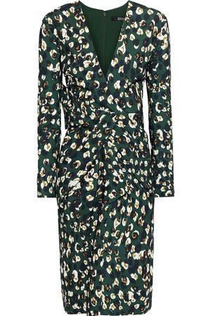 Badgley Mischka Woman Pleated Printed Crepe Dress Dark Size 10
