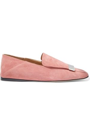 SERGIO ROSSI Woman Sr1 Embellished Suede Collapsible-heel Loafers Antique Rose Size 37