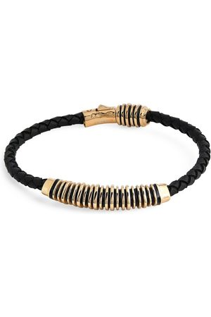 MARCO DAL MASO Gold-Plated Sterling Silver and Leather Acies Bracelet