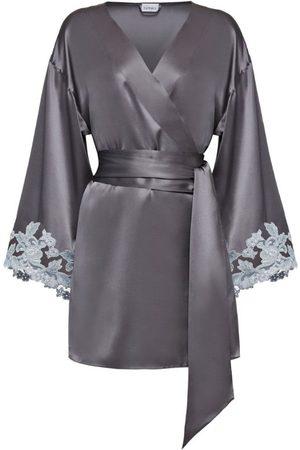 La Perla Maison Embroidered Short Silk Robe