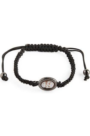 AMEDEO Skull-Detail Macramé Bracelet