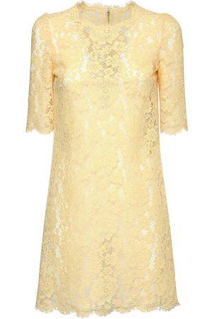 Dolce & Gabbana Women Casual Dresses - Cotton & Viscose Lace Effect Mini Dress