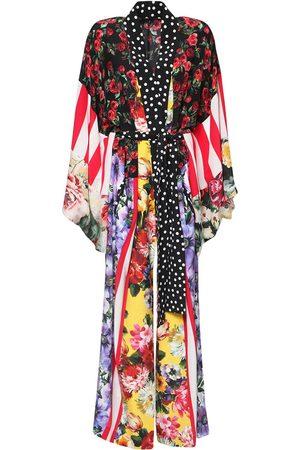 Dolce & Gabbana Women Tunic Dresses - Patchwork Silk Crepe De Chine Caftan