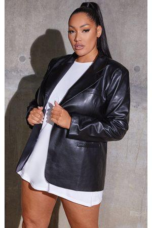 PRETTYLITTLETHING Plus Premium Faux Leather Blazer