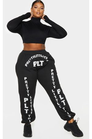 PRETTYLITTLETHING Women Joggers - Plus Slogan Printed Joggers