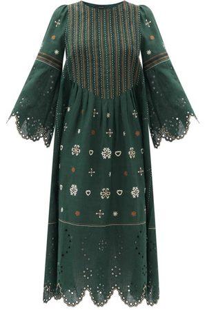 VITA KIN Women Midi Dresses - Jacqueline Broderie-anglaise Linen Midi Dress - Womens - Dark