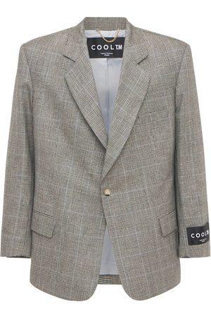 COOL TM Men Blazers - Loose Wool & Linen Check Blazer