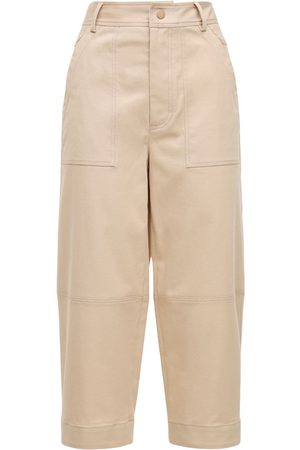 Moncler Women Wide Leg Trousers - Cropped Cotton Gabardine Wide Leg Pants