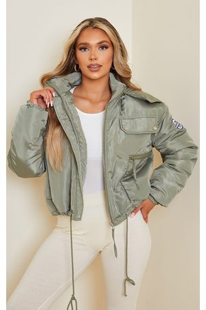 PRETTYLITTLETHING Women Parkas - Recycled Khaki Cropped Removable Faux Fur Hooded Parka