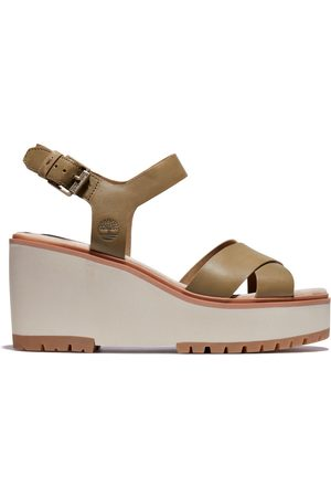 Timberland Koralyn wedge sandal for women in greige greige, size 3.5