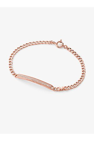Michael Kors Women Bracelets - MK Precious Metal-Plated Sterling Silver Pavé Plaque Curb Link Bracelet - Rose