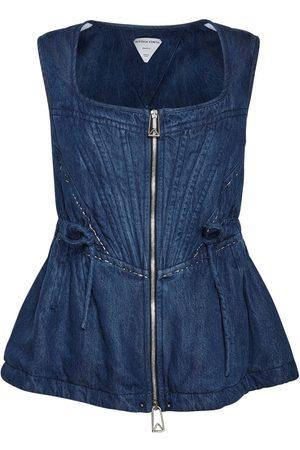 Bottega Veneta Women Tops - Fluid Denim Short Sleeve Top