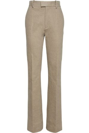 Bottega Veneta Women Stretch Trousers - Stretch Linen Canvas Straight Leg Pants
