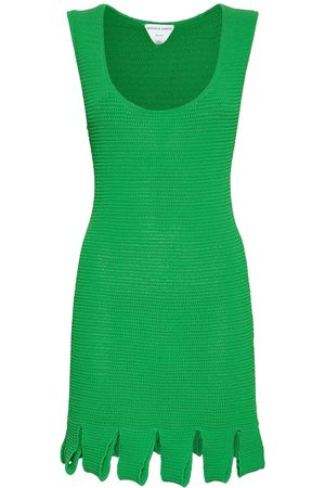 Bottega Veneta Women Sleeveless Dresses - Knit Mesh Sleeveless Mini Dress