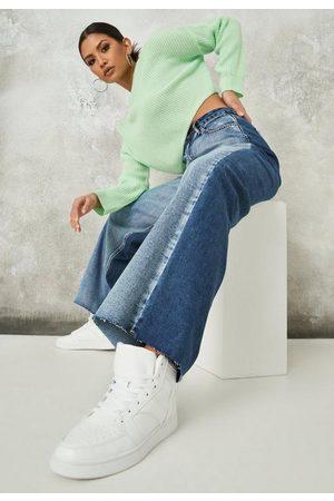 Missguided Splice Rip Hem Straight Leg Jeans
