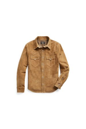 RRL Men Leather Jackets - Suede Western Shirt Jacket