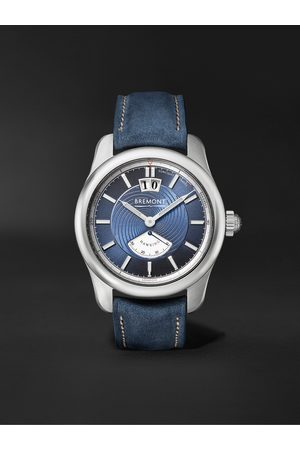 Bremont Men Watches - Hawking Limited Edition Automatic 41mm 18-Karat White Gold and Leather Watch
