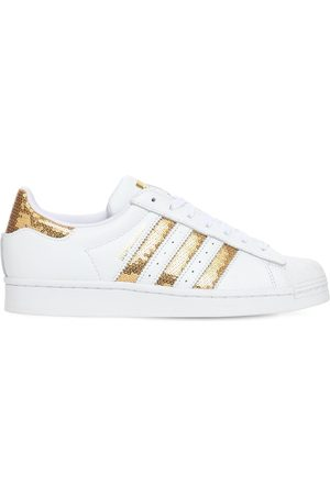 adidas Women Trainers - Superstar Leather Sneakers W/ Sequins