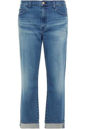 J Brand Women Boyfriend - Woman Tate Cropped Boyfriend Jeans Mid Denim Size 29