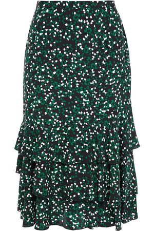 Diane von Furstenberg Women Printed Skirts - Woman Lyanna Tiered Printed Silk-crepe Skirt Size 0