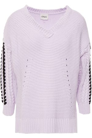 Charli Women Jumpers - Woman Darcey Grosgrain-trimmed Ribbed And Cable-knit Cotton Sweater Lilac Size L