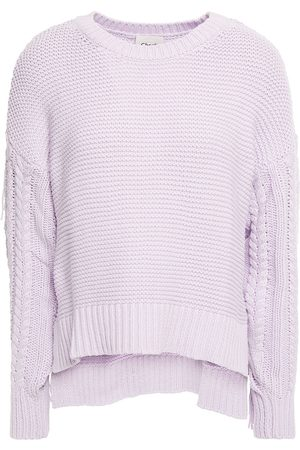 Charli Women Jumpers - Woman Daphne Fringed Ribbed And Cable-knit Cotton Sweater Lilac Size M