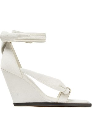 Rick Owens Women Sandals - Woman Knotted Calf Hair Wedge Sandals Size 37