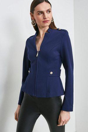Karen Millen Women Blazers - Karen Millen Military Zip Front Ponte Blazer -, Navy
