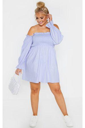 PRETTYLITTLETHING Plus Dusty Shirred Bardot Long Sleeve Dress
