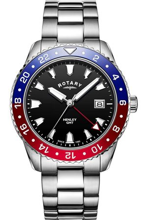 Rotary Black Dial Blue And Red Bezel Stainless Steel Bracelet Watch