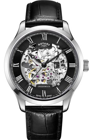 Rotary Black Skeleton Dial Black Leather Strap Watch
