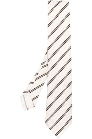 Lardini Stripe-print silk woven tie - Neutrals