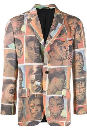 Moschino Men Blazers - 1980's faces printed blazer