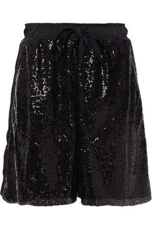 CLU Woman Sequined Mesh-paneled Twill Shorts Size M
